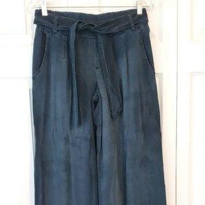 BELLA DAHL blue wide leg chambray boho lounge pant